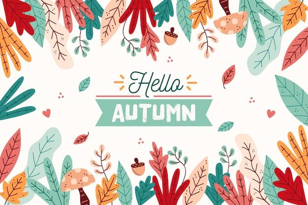 Herfst achtergrond met hand getrokken bladeren