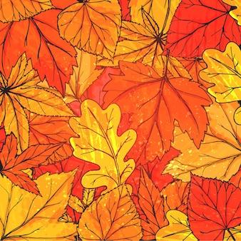 Herfst achtergrond met hand getrokken gouden bladeren. vector herfsttextuur voor advertenties, wenskaarten en sociale media-inhoud.