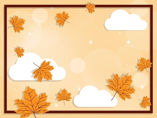 Herfst achtergrond met herfst bladeren op hemel met clound.