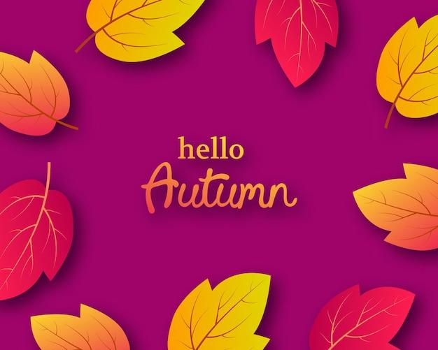 Herfst achtergrond met herfst gele bladeren en plaats voor tekst. ontwerp voor het spandoek of de poster van het herfstseizoen. vector illustratie