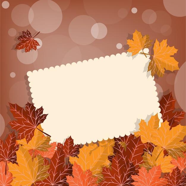 Herfst achtergrond met herfstbladeren frame.