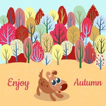 Herfst achtergrond met hond