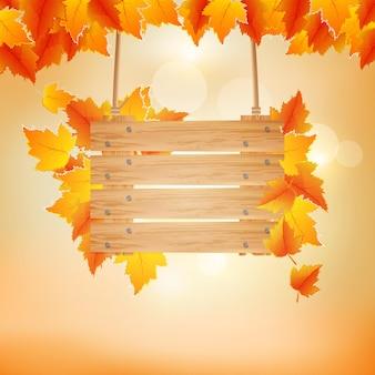 Herfst achtergrond met houten plank vectorillustratie