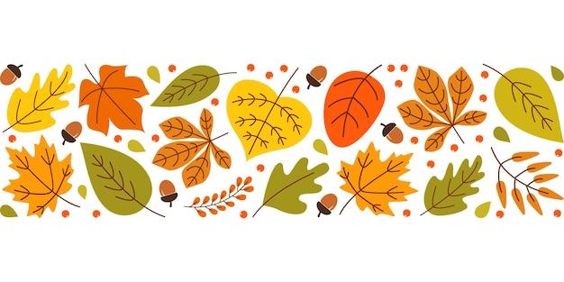 Herfst achtergrond met kleurrijke seizoensgebonden bladeren bessen eikels op witte achtergrond