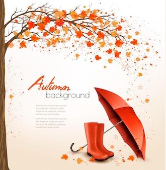 Herfst achtergrond met paraplu en regen laarzen. vector.