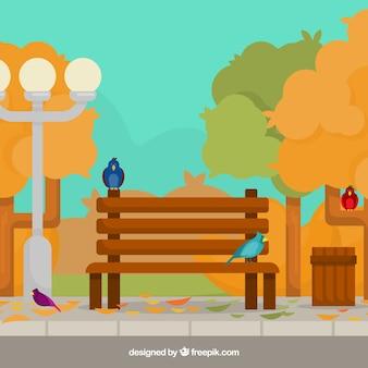 Herfst achtergrond met park