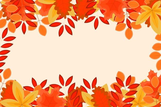 Herfst achtergrond met platte bladeren. vector illustratie.