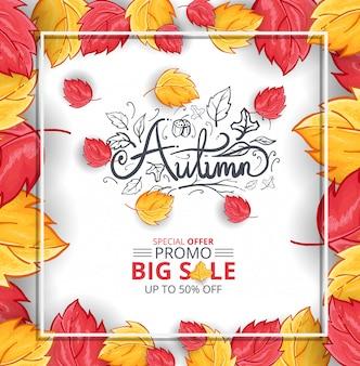 Herfst achtergrond met realistische bladeren en grote verkoop promo