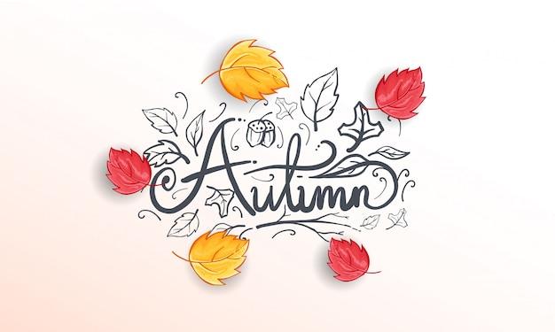 Herfst achtergrond met realistische bladeren