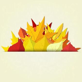 Herfst achtergrond met rode en gele bladeren, vectorillustratie
