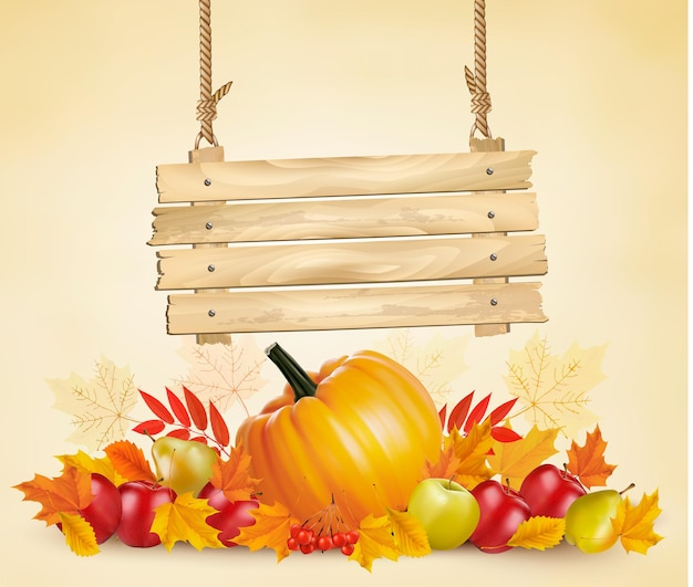 Herfst achtergrond met verlof en groente en houten bord. vector.