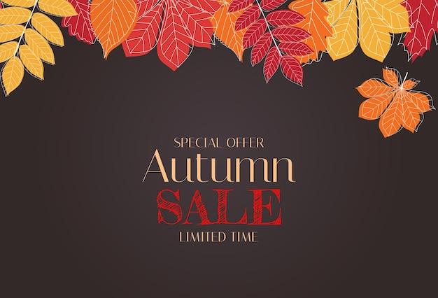 Herfst achtergrond sjabloon met bladeren. speciale aanbieding. beperkte tijd.