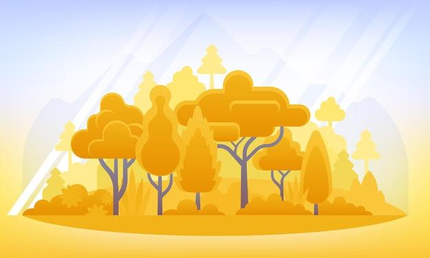 Herfst achtergrond vectorillustratie in vlakke stijl landschapsillustratie met planten bomen