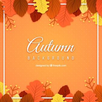 Herfst achtergrondkleur met bladeren