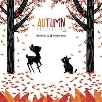 Herfst achtergrondkleur met bos en dieren