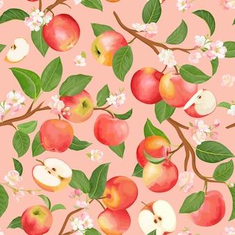 Herfst appel naadloze patroon. zomerfruit, bladeren, bloemen vector achtergrond. aquarel textuur illustratie voor dekking, tropisch behang, vintage achtergrond, huwelijksuitnodiging