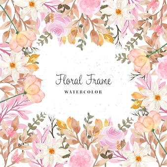 Herfst aquarel bloemen frame