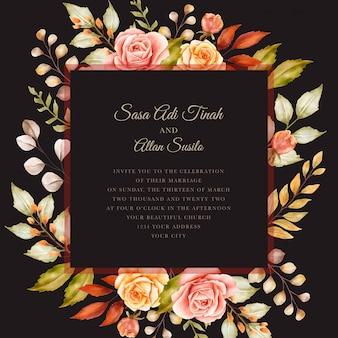 Herfst aquarel bloemen uitnodigingskaart