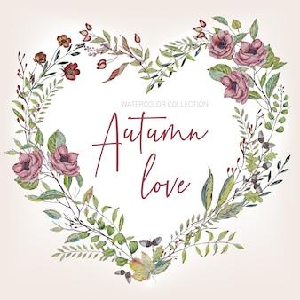 Herfst aquarel uitnodiging hart