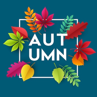 Herfst banner achtergrond met papier herfstbladeren. vectorillustratie eps10
