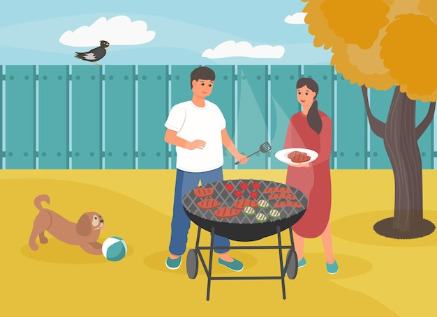Herfst barbecuefeestje achtertuin van het huis leuk stel dat eten klaarmaakt op de barbecue bbq time