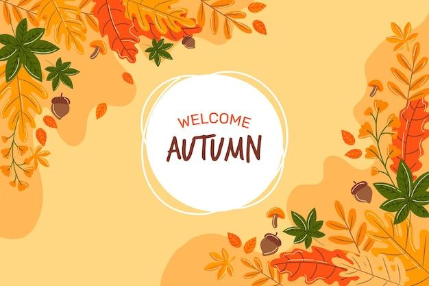 Herfst behang met bladeren