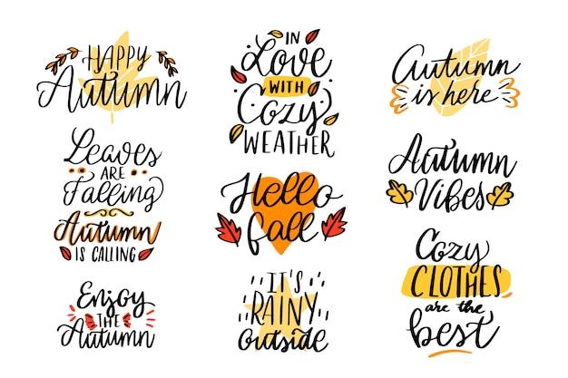 Herfst belettering collectie. gelukkig herfst. verliefd op gezellig weer. het regent buiten