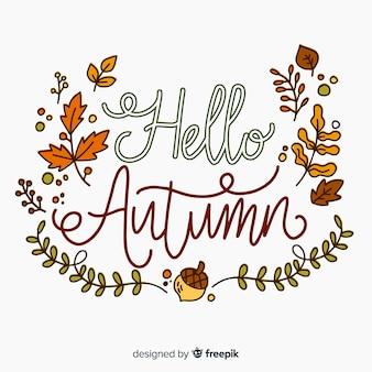 Herfst belettering hand getrokken ontwerp als achtergrond
