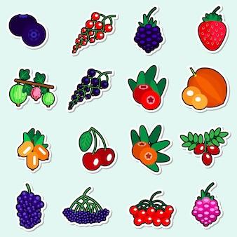 Herfst bessen stickers set op blauwe achtergrond kleurrijke fruit icons-collectie