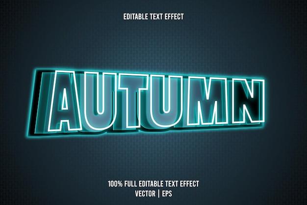 Herfst bewerkbaar teksteffect 3 dimensie reliëf neon stijl