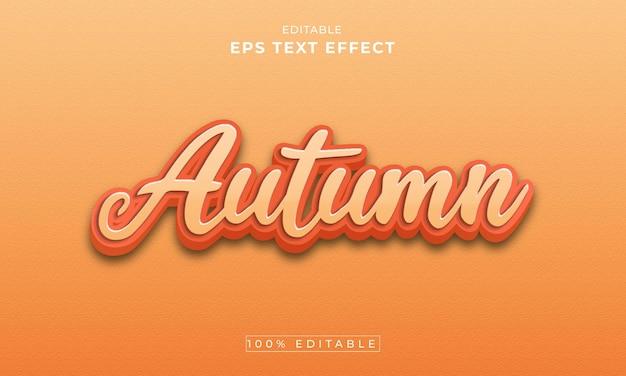 Herfst bewerkbare 3d-teksteffect premium vector