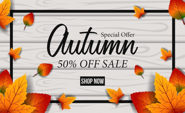 Herfst bladeren vallen verkoop aanbod sjabloon