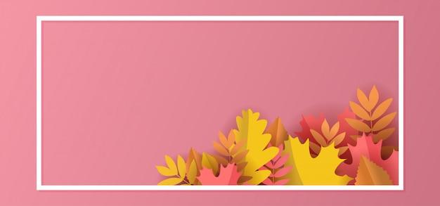 Herfst bloemen papier gesneden achtergrond met bladeren en frame pastel kleuren