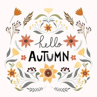 Herfst bloemen samenstelling poster banner met seizoensgebonden elementen zonnebloem paddestoel pompoen plan