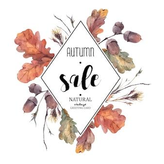 Herfst boeket van twijgen, gele eikenbladeren Premium Vector