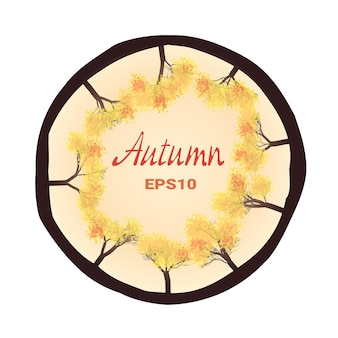 Herfst bomen in een cirkel, vector tekening