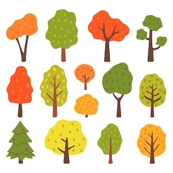 Herfst bomen set geïsoleerd op een witte achtergrond. vectorillustratie in vlakke stijl.
