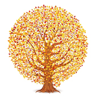 Herfst boom met gele en rode bladeren geïsoleerd op wit