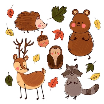 Herfst bos dieren handgetekende thema