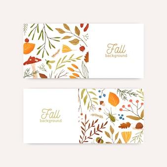 Herfst botanische banners platte vector sjablonen. samenstelling van bladeren en takken
