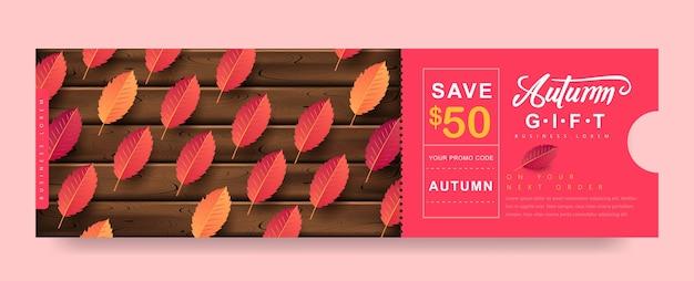 Herfst cadeau promotie coupon banner achtergrond. elegante herfstvoucher.