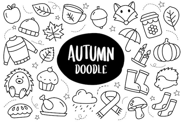 Herfst collectie set doodle stijl herfst seizoen handgetekende