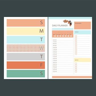 Herfst dagelijkse planner afdrukbare sjabloon bedrijfsorganisator schemapagina