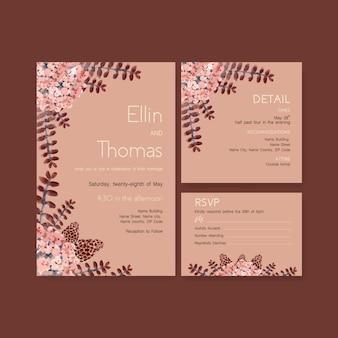 Herfst dagelijkse sjabloonontwerp voor bruiloft kaart en uitnodiging aquarel