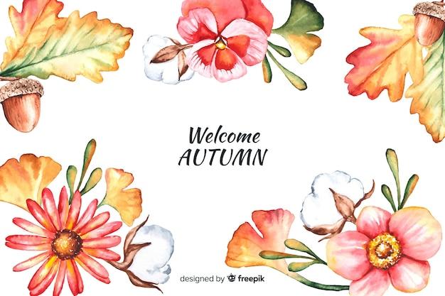 Herfst decoratieve achtergrond aquarel stijl