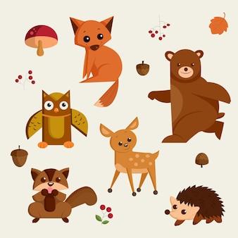 Herfst dier cartoon geïsoleerde vector iconen set