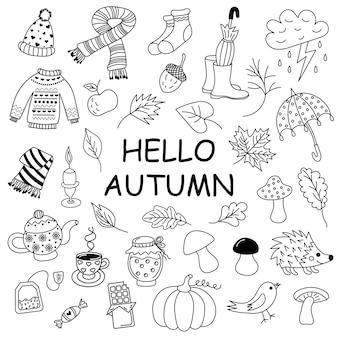 Herfst doodle set schetsmatige vector handgetekende doodle set objecten en symbolen op het herfstthema