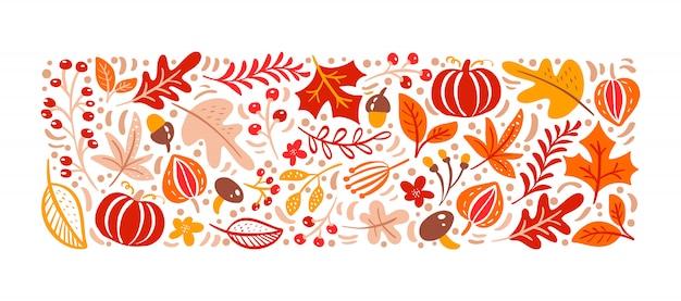 Herfst elementen. paddestoel, eikel, esdoornbladeren en pompoen