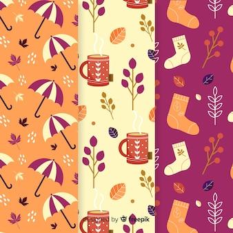 Herfst elementen patroon collectie plat ontwerp