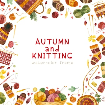 Herfst en breien thema frame